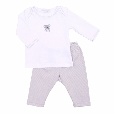 Magnolia Baby Boys Gray Koala Bear Cuddles Embroidered Pant Set