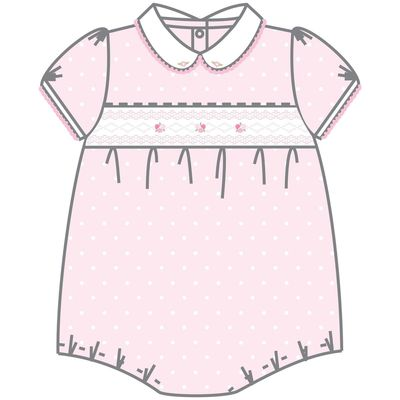 Magnolia Baby Layla &d Lennox Smocked Collared Girl Bubble - Pink