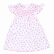 Magnolia Baby Girls Pink Floral Layla's Classics Smocked Bishop Dress
