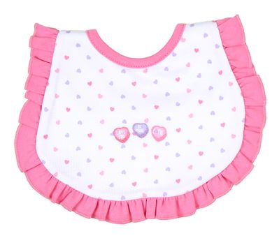 Magnolia Baby Girls Pink Hearts Lil' Sweetheart Embroidered Ruffle Bib
