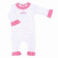 Magnolia Baby Girls Pink Heart Lil' Sweetheart Embroidered Ruffle Playsuit