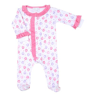 Magnolia Baby Girls Lil' Sweetheart Pink Hearts Printed Ruffle Footie
