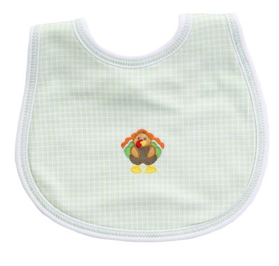 Magnolia Baby Boys / Girls Lil' Turkey Classics Green Check Thanksgiving Bib