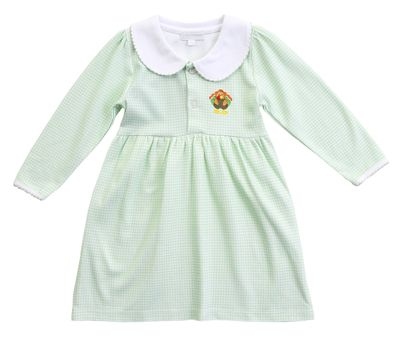 Magnolia Baby Toddler Girls Lil' Turkey Classics Green Check Dress