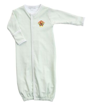 Magnolia Baby Boys / Girls Lil' Turkey Classics Green Check Converter Gown