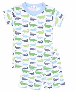 Magnolia Baby Little Boys Oh Snap! Short Pajamas - Green / Blue Alligators