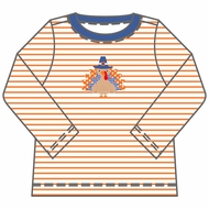 Magnolia Baby Little Boys Orange Give Thanks Turkey Applique Shirt - Long Sleeves
