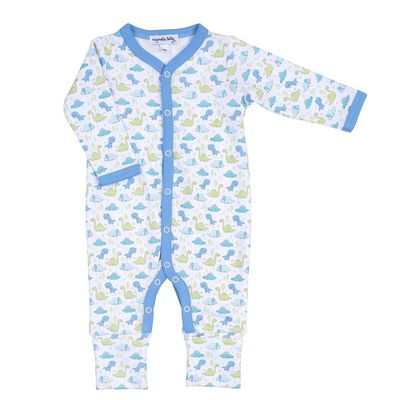 Magnolia Baby Boys Blue Little Dinosaurs Printed Playsuit