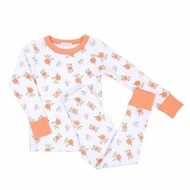 Magnolia Baby Little Girls Autumn's Classics Orange Floral Pajamas