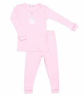 Magnolia Baby Little Girls Frosty Fun Applique Snowman Pajamas - Pink