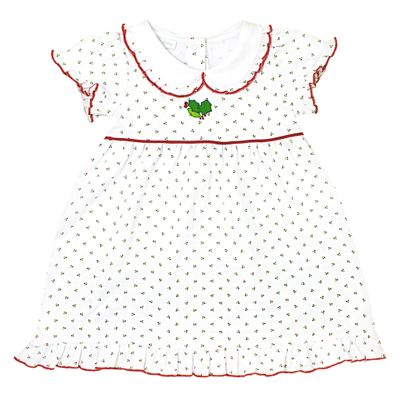 Magnolia Baby Little Girls Happy Holly-Days! White & Red Embroidered Dress