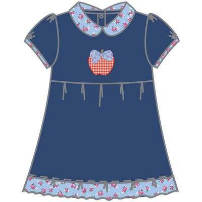 Magnolia Baby Little Girls Navy Blue Fresh Picked Red Apple Dress with Collar