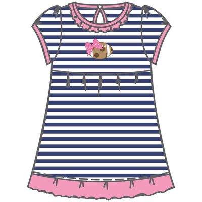 Magnolia Baby Little Girls Navy Blue Striped Chocolate Chip Cookie Football Dress