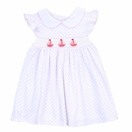 Magnolia Baby Little Girls Pink Dots Classic Schooner Smocked Sailboat Dress