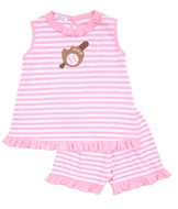 Magnolia Baby Little Girls Pink Striped Baseball Applique Ruffle Short Set