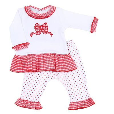 Magnolia Baby Little Girls Red Bow Applique Ruffle Pant Set