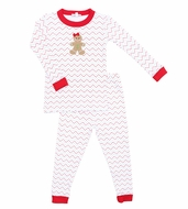 Magnolia Baby Little Girls Red Christmas Gingerbread Applique Pajamas