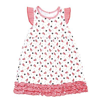Magnolia Baby Little Girls Red Lobsters Print Let's Get Cray Ruffle Dress
