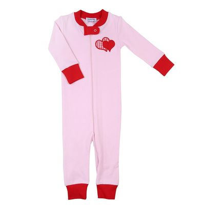 Magnolia Baby Girls Pink Love Applique Red Heart Zipped Pajamas