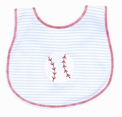 Magnolia Baby Boys Blue Love Baseball Applique Bib