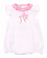 Magnolia Baby Girls Pink Love Baseball Applique Flutters Bubble