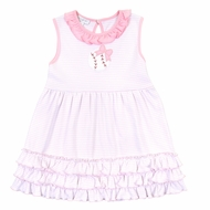 Magnolia Baby Little Girls Pink Love Baseball Applique Ruffle Sleeveless Dress