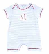 Magnolia Baby Boys Blue Love Baseball Applique Playsuit Romper