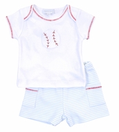 Magnolia Baby Boys Blue Love Baseball Applique Short Set