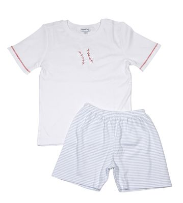 Magnolia Baby Little Boys Love Baseball Applique Short Set
