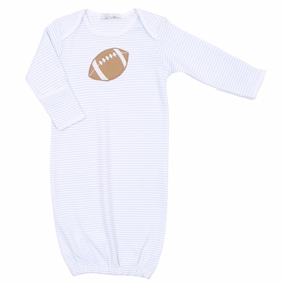 Magnolia Baby Boys Blue Stripe Love Football Applique Gown