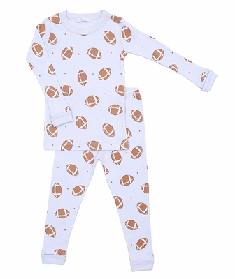 Magnolia Baby Little Boys Love Football Long Sleeve Pajamas - Blue
