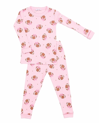Magnolia Baby Little Girls Love Football Long Sleeve Pajamas - Pink