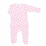 Magnolia Baby Girls Love Football Printed Ruffle Footie - Pink