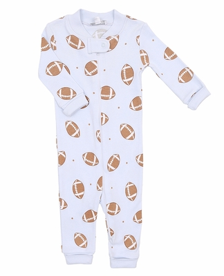Magnolia Baby / Toddler Boys Blue Love Football Pajamas with Zipper