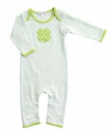 Magnolia Baby Boys Green Lucky Shamrock St. Patrick's Day Playsuit - Long