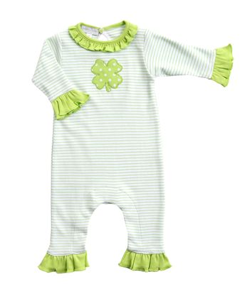 Magnolia Baby Girls Green Lucky Shamrock St. Patrick's Day Ruffle Playsuit
