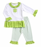 Magnolia Baby Little Girls Green Lucky Shamrock St. Patrick's Day Ruffle Pant Set
