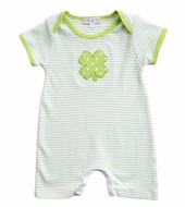 Magnolia Baby Boys Green Lucky Shamrock St. Patrick's Day Playsuit - Short