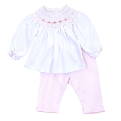 Magnolia Baby Girls Pink Maddy and Michael's Classics Smocked Pant Set