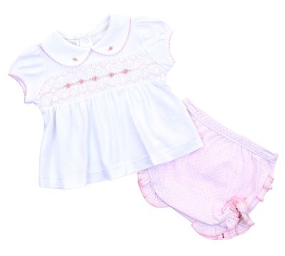 Magnolia Baby Girls Pink Maddy and Michael's Classics Smocked Diaper Set