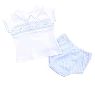 Magnolia Baby Boys Blue Maddy and Michael's Classics Smocked Diaper Set