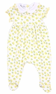 Magnolia Baby Girls Yellow Make Lemonade Printed Footie