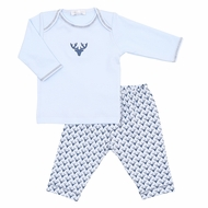 Magnolia Baby Boys Blue My First Buck Printed Pant Set