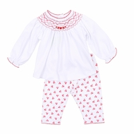Magnolia Baby Girls Noelle's Classics Red Christmas Floral Smocked Pant Set