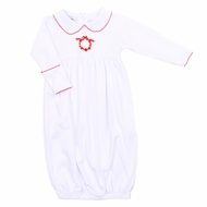 Magnolia Baby Girls Noelle's Classics White Gown - Embroidered Christmas Wreath
