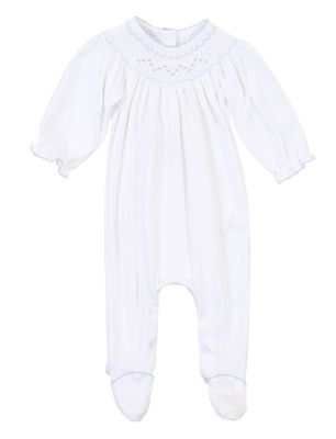 Magnolia Baby Girls Nora and Nolan's Classics White / Blue Smocked Footie