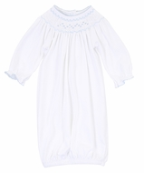 Magnolia Baby Girls Nora and Nolan's Classics White / Blue Smocked Bishop Gown
