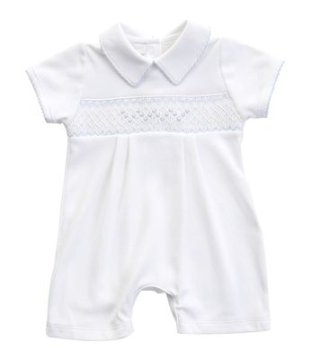 Magnolia Baby Boys Nora and Nolan's Classics White Smocked Short Playsuit