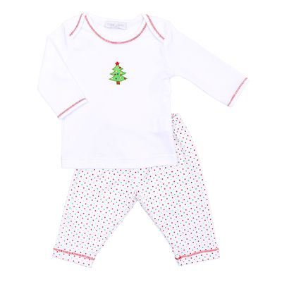 Magnolia Baby Boys Red / Green O Christmas Tree Pant Set