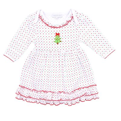 Magnolia Baby Girls Red / Green Dots O Christmas Tree Dress Set